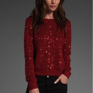 Alice + Olivia Women's Red Juanita Sequin Sweater
